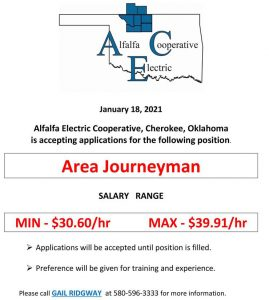 Area Journeyman Job Opening